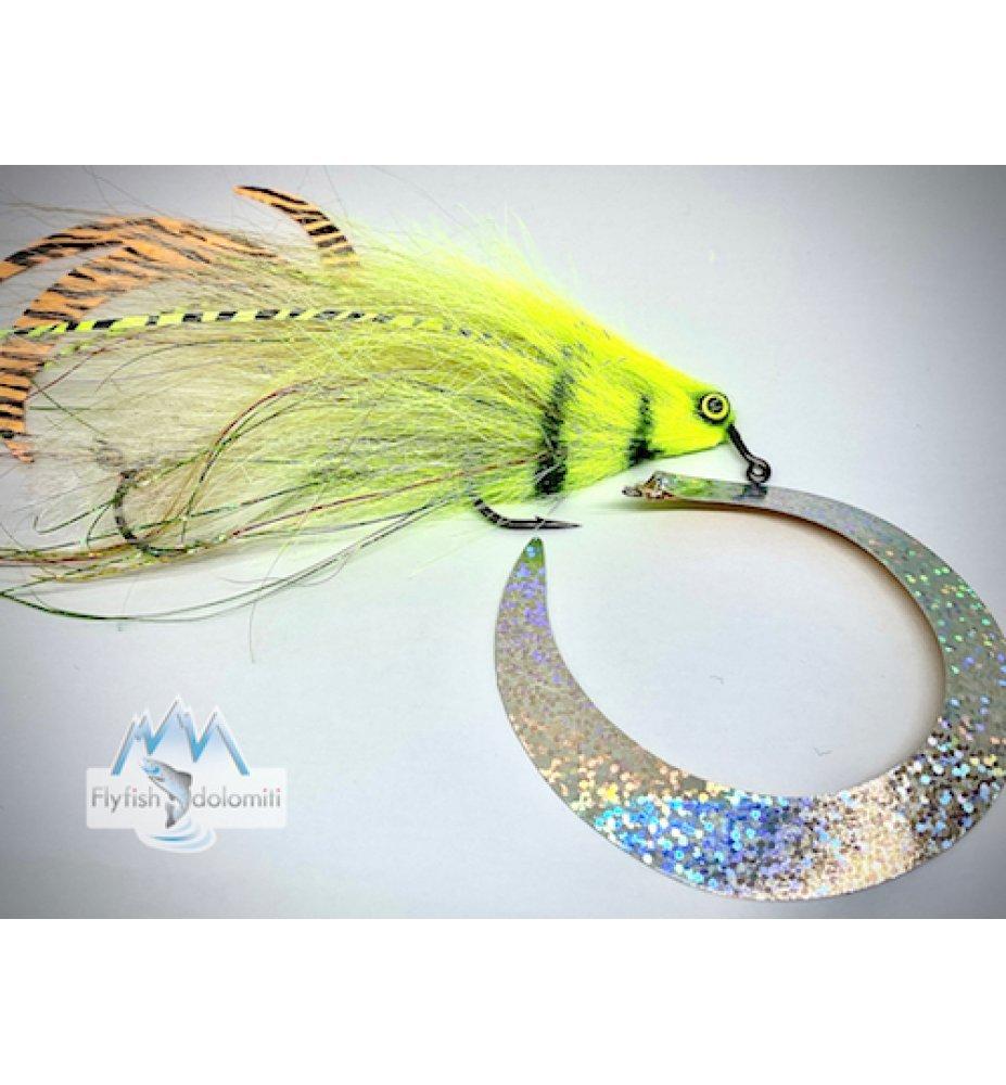 Pacchiarini Dragon Tail Jig Pike Streamer white/chartreuse