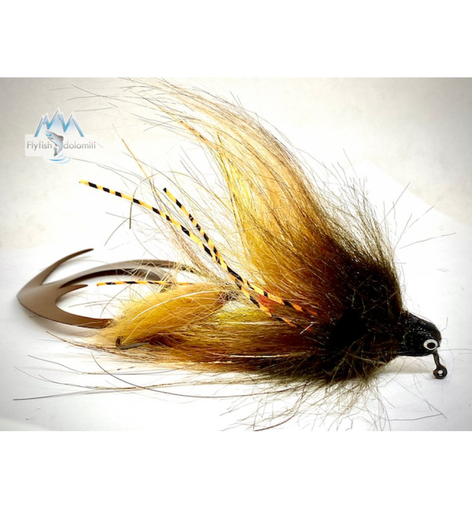 Pacchiarini Dragon Tail Jig Pike Streamer Brown/Yellow