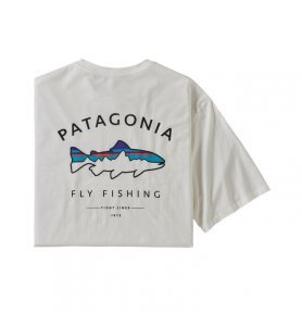 Patagonia Men's Framed Fitz Roy Trout Organic Cotton T-Shirt WHI
