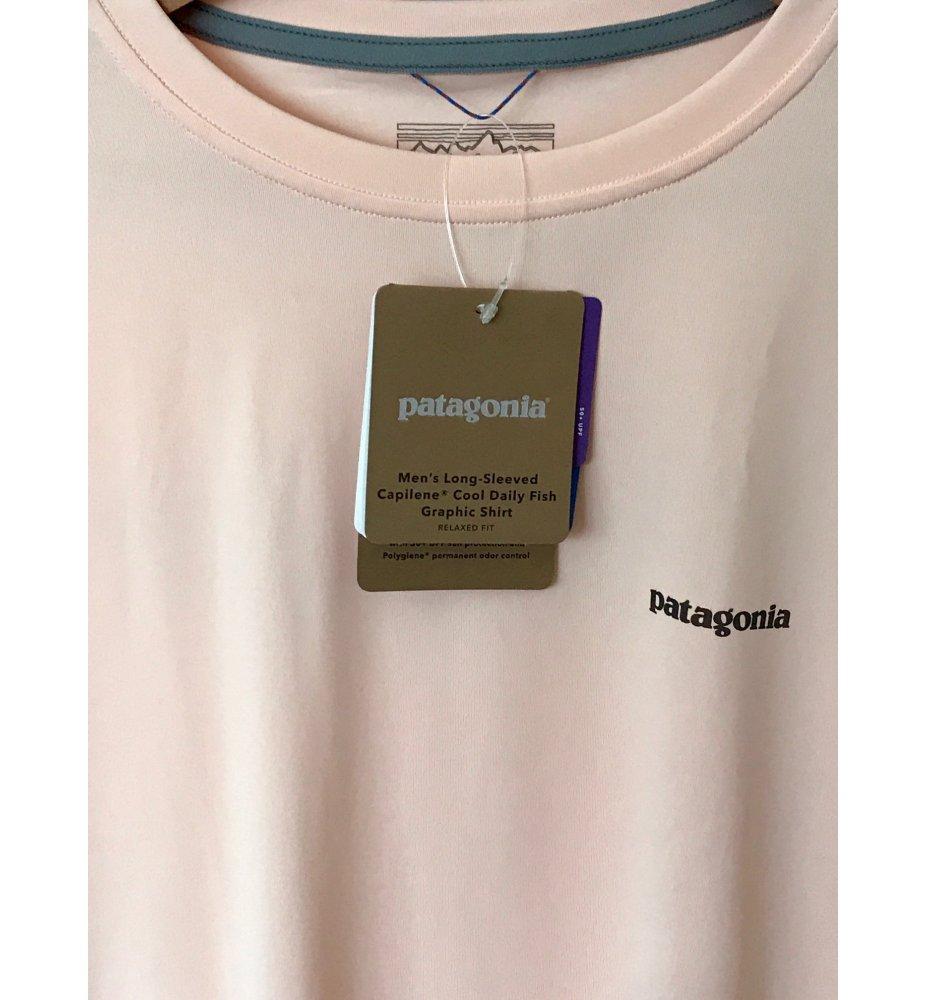 Patagonia Long-Sleeved  Cool Daily Fish Tarpon Graphic Shirt (Light Peach)