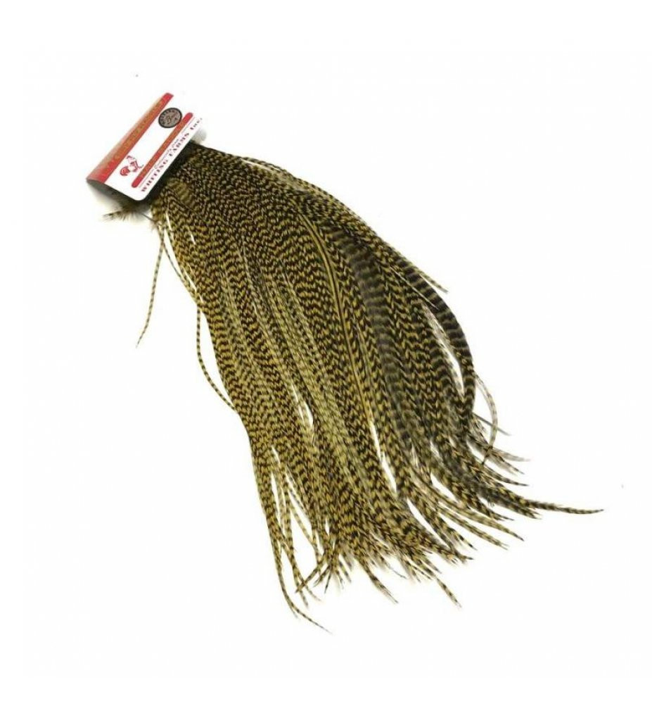 Whiting 1/2 Saddle grizzly dyed Golden Olive